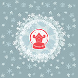 Christmas and New Year round frame with snow ball symbol. Greeting card.