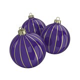 Purple and gold decorative Christmas balls. Isolated New Year image.