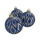 Blue and gold decorative Christmas balls. Isolated New Year image.
