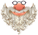Santa mask. White beard, glasses and nose