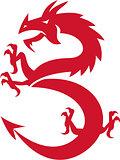 Red Dragon Prancing Silhouette Retro