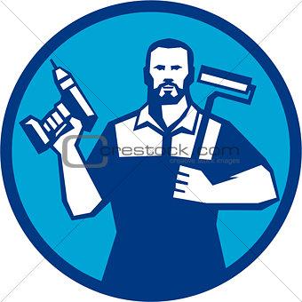 Bearded Handyman Cordless Drill Paintroller Circle Retro