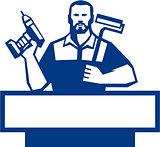 Handyman Bearded Cordless Drill Paintroller Retro