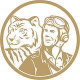 World War 2 Pilot Airman Tiger Gold Circle Retro