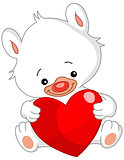 Valentine white teddy bear