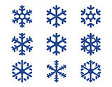 snowflake blue icons set