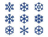 snowflake blue icons set