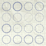 Vector Hand Drawn Circle Logo and Badge Elements Set