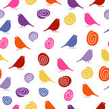 Colorful birds on white background, seamless pattern