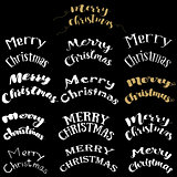 Merry Christmas Lettering Design Set. Vector illustration EPS10