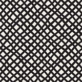Vector Seamless Black and White Hand Drawn Diagonal Grid Pattern