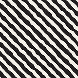 Vector Seamless Black and White Roughly Hand Drawn Diagonal Stripes Pattern