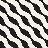 Vector Seamless Black and White Hand Drawn Wavy Diagonal Stripes Pattern