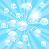 Vector soap bubbles blue background.