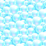 Vector soap bubbles blue seamless pattern.