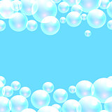 Vector soap bubbles blue banner background.