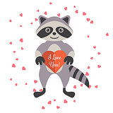 Cartoon raccoon holding valentine heart card.