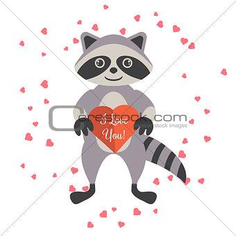 Cartoon raccoon holding valentine heart card.