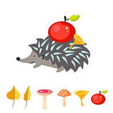 Cartoon hedgehog with apple on his back.