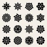 Vector Black And White Mandala Lace Ornaments