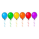 Set of colorful balloons isolated on white background
