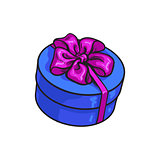 Red round gift box with bow and ribbon