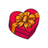 Red heart shaped gift box with bow and ribbon