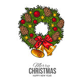 Green Christmas wreath with decorations greeting card