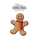 Traditional gingerbread, Christmas greeting card