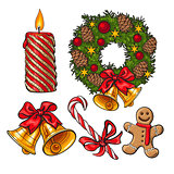 Set of traditional Christmas decoration objects