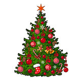 Beautifully decorated Christmas tree isolated on white background