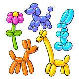 Set of balloon animals - dog, poodle, giraffe, flower, rabbit