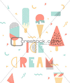 Bright illustration with ice cream. Memphis