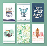 Vector set of bright summer card.