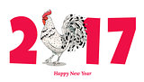 Vector element for New Year design. Image of 2017, year of Red Rooster.