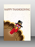 Happy Thanksgiving celebration card with turkey.