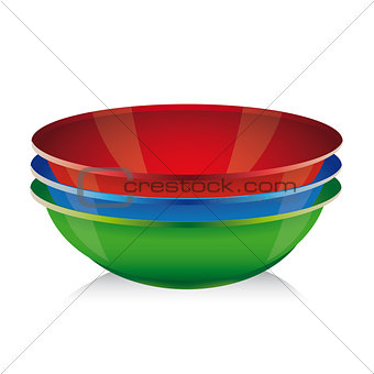 Bowl vector set - red, blue, green