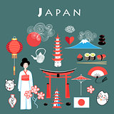 Vector graphic set Japan