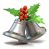 Silver Christmas bells with holly berries, 3D