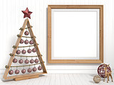 Mock up blank picture frame, Christmas decoration. 3D