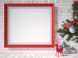 Mock up poster with red reindeer, Christmas tree and stars. 3D