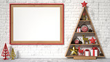 Mock up blank picture frame, Christmas decoration and gifts. 3D