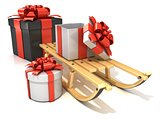 Wooden sledge with Christmas presents, 3D