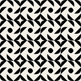 Vector Seamless Black And White Rounded Half Circle Geometric Pattern