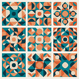 Vector Seamless Teal Orange Retro Geometric Ethnic Pattern