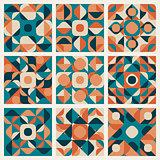 Vector Seamless Teal Orange Retro Geometric Ethnic Pattern