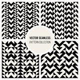 Vector Seamless Black & White Triangle Ethnic  Pattern