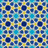 Vector Seamless Geometric Blue Yellow Islamic Pattern