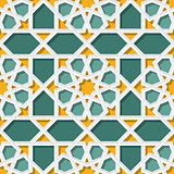 Vector Seamless Geometric Teal Yellow Islamic Star Pattern