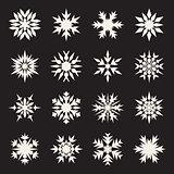Set of Sixteen Symmetrical White Snowflakes Design on Black Background